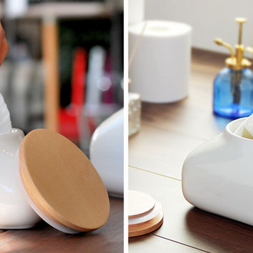 Wet Wipes Case - A Chic And Versatile Ceramic Canister By Ideaco