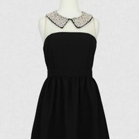 Black Flare Dress with Pearl Beaded Collar & Mesh Neckline