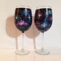 Hand painted space wine glasses 2 piece set by ArianaVictoriaRose