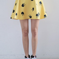 Yellow Jellyfish Print Mini Skirt