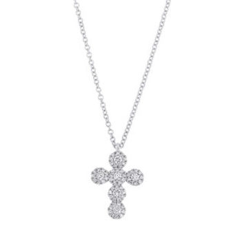 0.25ct 14k White Gold Diamond Cross Necklace