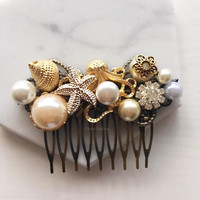 Starfish Gold Wedding Hair Comb with Pearl Shell Rhinestones