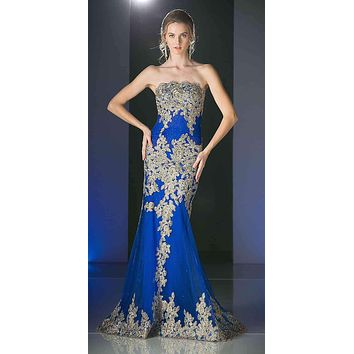 SPECIAL - Royal Blue Formal Strapless Long Evening Dress Golden Applique