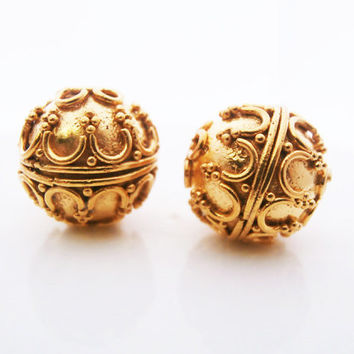 Two 12mm 24 Carat Gold Vermeil on 925 Sterling Silver Bali Beads, Bali Vermeil Granulation Beads, 12mm Gold Vermeil Beads,