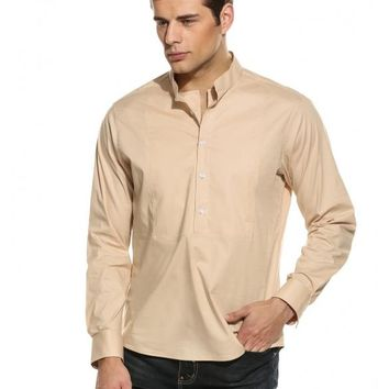Apricot Mens Long Sleeve Stand Collar Solid Button Pullover Casual Shirt
