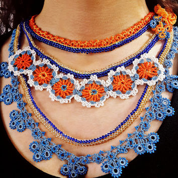 Blue Beaded Necklace - Blue Yellow Orange Statement - With Flower Pattern - Seed Beads Necklace - Handmade Jewellery - Stylish -