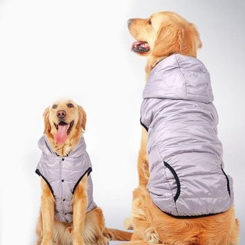 Winter Warm Big Large Dog Clothes For Pet Dog Hoodie Vest Shirt Golden Retriever Pitbull Dog Cotton Padded Jacket Coat Clothing