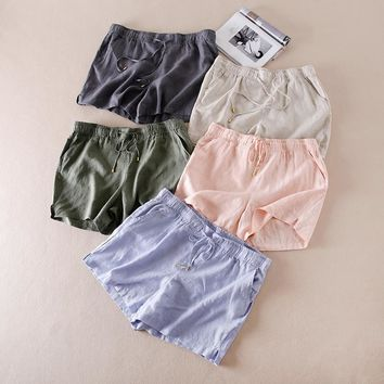 Fashion Summer Shorts High Waist Solid Color Drawstring Loose 2017 Shorts Women Linen Fabric Short Shorts Women Plus Size