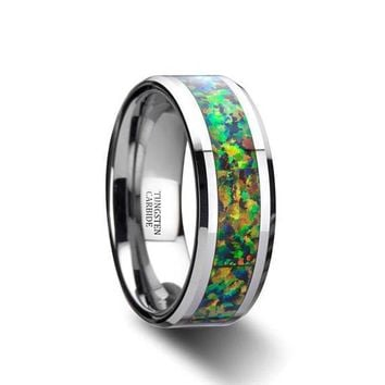 Mens Opal Ring Tungsten Wedding Ring Blue & Orange Beveled Polished Finish - 8mm