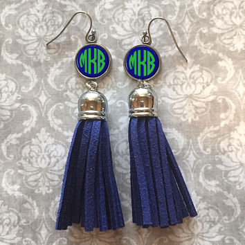 Blue Monogram Tassel Earrings, Personalized Earrings - Style 332