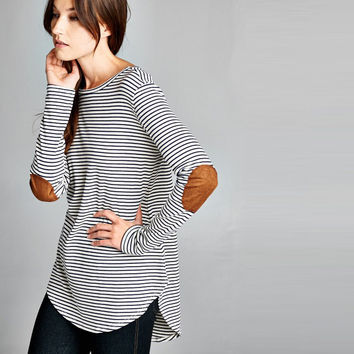 Everyday Pinstripe Tunic with Faux Suede Elbow Patches