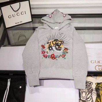 Women Gucci Pattern Crochet Embroidery The tiger Grey Hot Hoodie Cute Sweater I