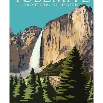 Yosemite Falls - Yosemite National Park, California Art Print by Lantern Press at Art.com