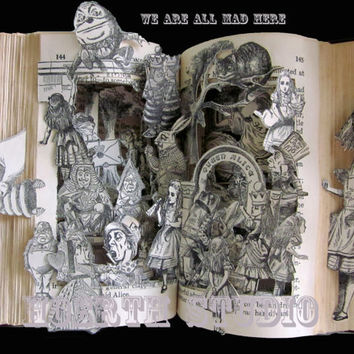 Altered book Alice in wonderland Print by Raidersofthelostart