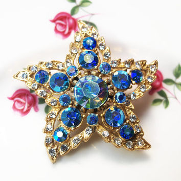 Starfish Brooch, Brooch, Rhinestone Brooch, Blue Stones, Costume Jewellery, Gold Tone, Aurora Borealis, Something Blue - 1950s / 1960s