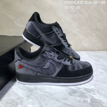 DCCK N706 Nike Air Force 1 Low QS Satin Black Velvet Rose Casual Skate Shoes