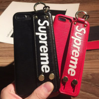 Trendy Supreme Leather Iphone X 8 8 Plus Cover Case With Rope