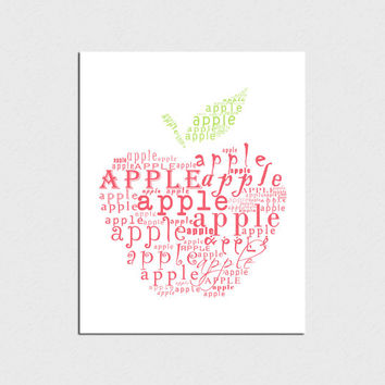 Apple Typographic print Kitchen decor Kitchen art Kitchen wall art Apple print Print art Instant download Digital print Home decor print