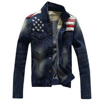Motorcycle Denim Jacket Harley Stars Stripes Patchwork XXXL Embroidered Punk Rock Washed Mens Jean Jackets Plus Size