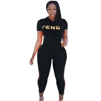 Fendi Fashion New Summer Letter Print Sports Hooded Top And Pants Two Piece Suit Women Black
