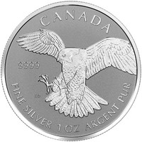 2016 1 oz Canadian Silver Peregrine Falcon Reverse Proof Coin