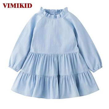 Baby Dress New Long-sleeved Doll Collar Cotton Princess  Button Tutu Party Dresses for Girls Kids Clothes