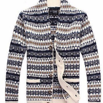 Single-Breasted Coarse Wool Men's Cardigan