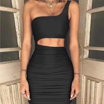 Womens Summer Sexy Dresses One Shoulder Lace Up Mini Dress Halter Bodycon Club Wear
