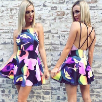 Criss Cross Spaghetti  Strap Backless Floral Print Mini Dress