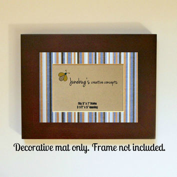 3x5 Photo Mat fits 5x7 Frame Blue Tan Stripes