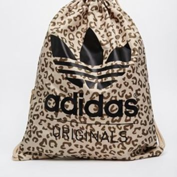 Adidas Originals Drawstring Backpack in Leopard