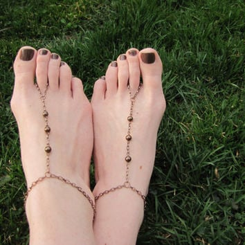 SALE-Now Customizable! Pearl Barefoot Sandals, Barefoot Sandal Foot Bracelets, Single Strand Foot Jewelry Barefoot Sandals