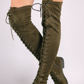 Wild Diva Lounge Suede Lace Up Over-The-Knee Combat Boots | UrbanOG