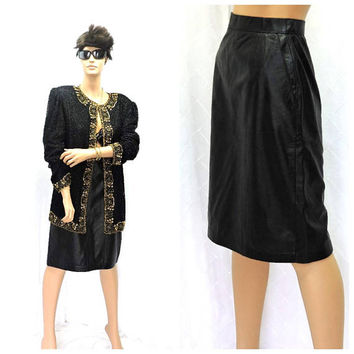 Black leather skirt / XS / 80s high waisted Wilsons leather pencil skirt / 1980s rocker retro high waist black leather skirt