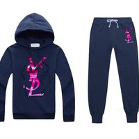 YSL Casual Print Hoodie Top Sweater Pants Trousers Set Two-piece Sportswear