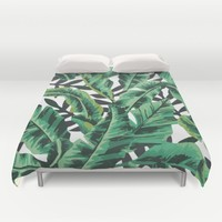 Tropical Glam Banana Leaf Print Duvet Cover by Nikki