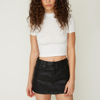 Jeanette Mini Skirt in Coated Black
