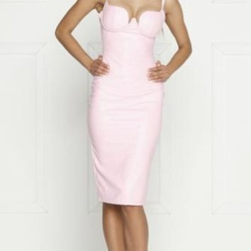 Invitation Only Pink PU Faux Leather Sleeveless Spaghetti Strap Bustier Bodycon Midi Dress - Inspired by Kim Kardashian