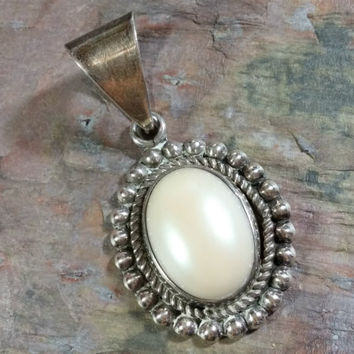 Big Taxco Sterling Silver Pendant with Large Oval Mother of Pearl Stone Taxco Silver Mexico White MOP Hand Wrought Large Bale Luminescent