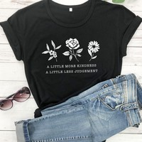 Round Neck Slogan And Floral Print Tee