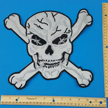 Reflective Patch Large Skull Cross Bones Back patch for Vest Jacket New