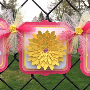 Pink and yellow / flower / it's a girl / baby shower banner, photo prop, polka dots