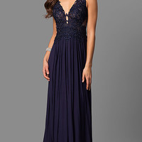 Embroidered V-Neck Long Sleeveless Prom Dress