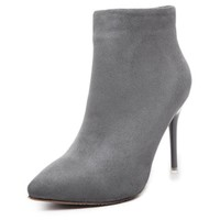 Suede concise stiletto ankle boots
