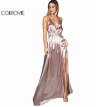 COLROVIE Maxi Party Dress Women Pink Plunge Neck Sexy Cross Back Wrap High Slit Summer Dresses 2017 Elegant Club Long Cami Dress