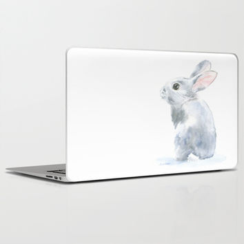 Gray Bunny Rabbit Watercolor Painting Laptop & iPad Skin by Susan Windsor