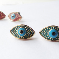 Evil eye earrings in blue and green metal jewelry best friend birthday unique gift women accessories gift for girls turkish arabic christmas