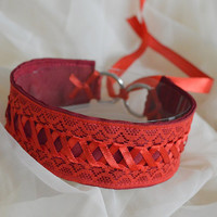 Red priestess - passionate red laced gothic fantasy witch choker - lolita kitten pet play collar