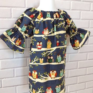 18 Month Ready To Ship Owl Peasant Dress Boutique Clothing By Lucky Lizzy's