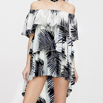 White Palm Print Off Shoulder Layered High Low Dress